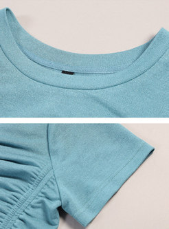 Drawcord Crew Neck Cropped T-shirt