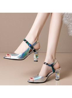 Block Heel Peep Toe Buckle Sandals