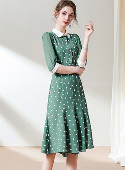 Polka Dot Patchwork Lapel Midi Dress