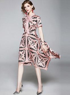 Lapel Print Bowknot Asymmetric Skater Dress