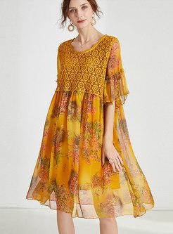 Chiffon Patchwork Print Shift Dress