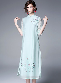 Embroidered Stand Collar Side-slit Shift Dress