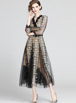 Mesh Embroidered Empire Waist Maxi Dress