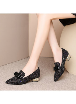 Pointed Toe Glitter Bowknot Shoes