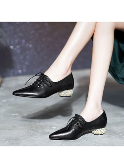 Lace-up Pointed Toe Genuine Leather Shoes