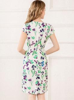 Floral Crew Neck Bodycon Dress