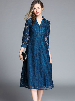 Lace Openwork Tied Lapel Skater Dress