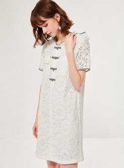 Lace Hooded Openwork Shift Dress