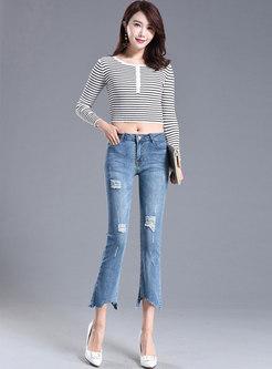 Denim Asymmetric Ripped Flare Pants