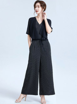 Striped V-neck Patchwork Tied Jumpsuit