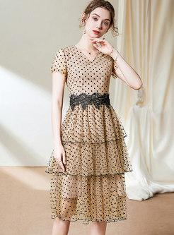 Polka Dot Mesh Patchwork Cake Dress