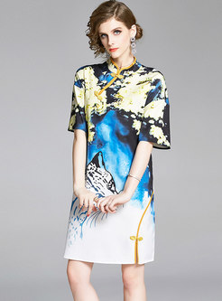 Stand Collar Print Shift Dress