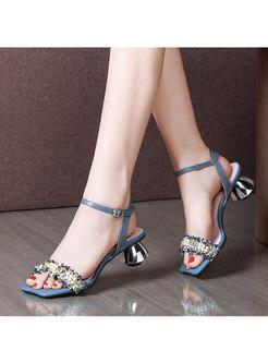 Block Heel Square Toe Beaded Sandals
