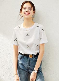 Casual Crew Neck Print Cotton T-shirt