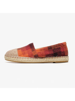 Casual Plaid Patchwork Flat Cloth Shoes