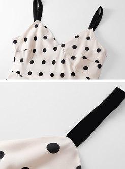 Stylish Polka Dot Backless Chiffon Irregular Slip Dress