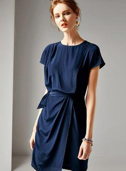 Solid Color Wrap Silk Bodycon Dress