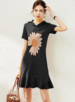 Casual Hooded Drilling Ruffle T-shirt Dress