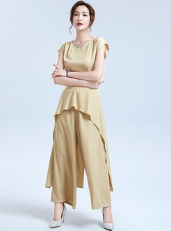 Crew Neck Ruffle Asymmetric Pant Suits