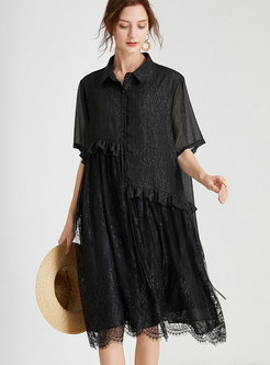 Lace Patchwork Ruffle Shift Shirt Dress