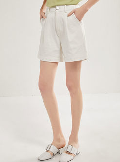 Casual Solid Color High Waisted Shorts
