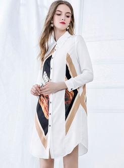 Color Block Lapel Shift Shirt Dress
