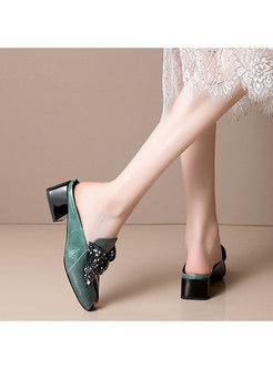Peep Toe Bowknot Chunky Heel Slippers