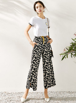 Crew Neck Floral Drawcord Pant Suits