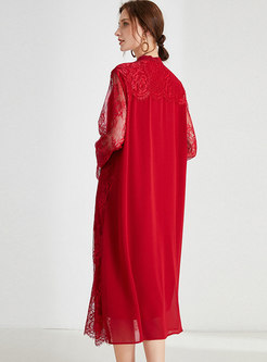 Stand Collar Lace Shift Midi Dress