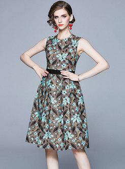 Vintage Print Sleeveless Skater Dress