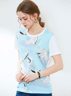 Crew Neck Print Pullover T-shirt