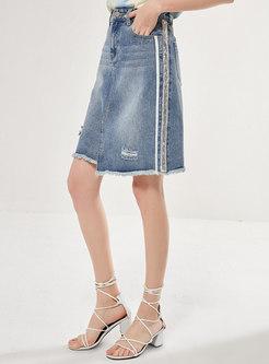 Denim Tassel Asymmetric Ripped A-line Skirt