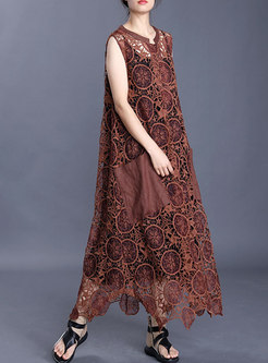 Embroidered Asymmetric Loose Maxi Dress With Camis
