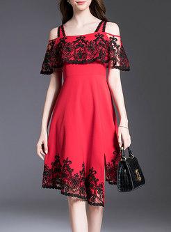 Slash Neck Embroidered Asymmetric Dress