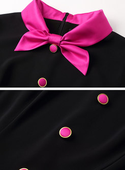 Color Block Bowknot Patchwork Skater Dress