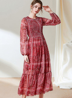 Lantern Sleeve Print Big Hem Maxi Dress
