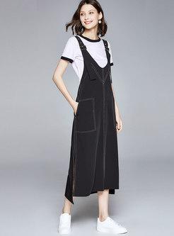Color Block T-shirt & Slit Suspender Skirt