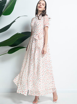 Sweet Print Lapel Wrap Maxi Beach Dress
