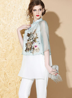 Stand Collar Embroidered Patchwork Silk Top