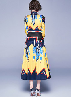 Retro Print Bowknot Big Hem Maxi Dress