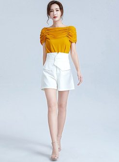 Solid Color Patchwork High Waisted Shorts