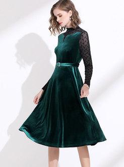 Patchwork Stand Collar Velvet Skater Dress
