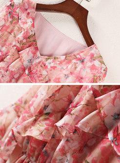 Chiffon Floral Elastic Waist Skater Dress
