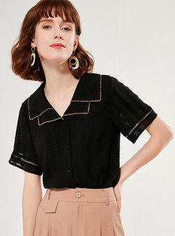 Color-blocked Patchwork Lapel Blouse