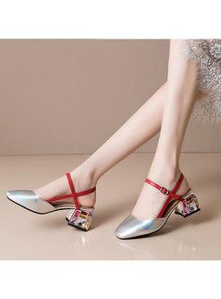 Block Heel Studded Closed Toe Sandals
