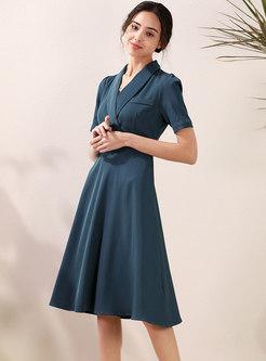Wide Lapel Gathered Waist Office Dress