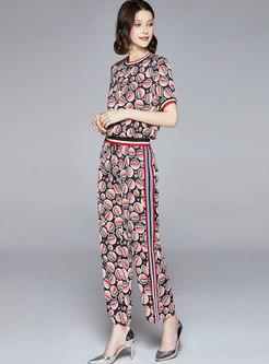 Casual Print Patchwork Wide Leg Pant Suits