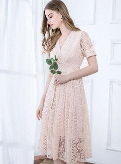 Cross V-neck Gathered Waist Lace Skater Dress