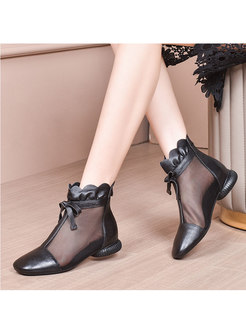 Mesh Patchwork Rounded Toe Breathable Ankle Boots