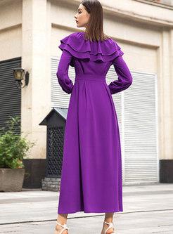 Button-front High Waisted Ruffle Maxi Dress